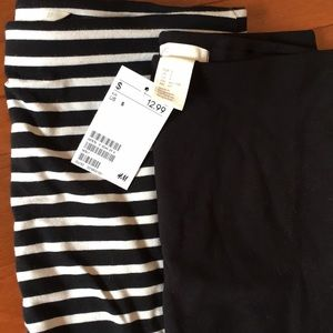 Two H&M Pencil Skirt Black & Stripe S